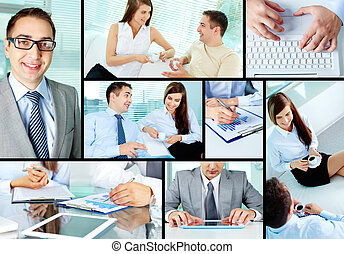 Business couple - Images of young business people working...