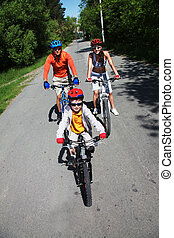 Follow the road - Vertical shot of a family riding bikes...