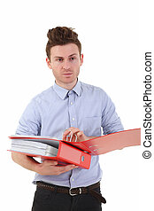 Young man holding folders