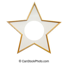 Wooden frame in star shape isolated on white