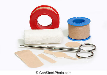 Bandaid - First aid kit and bandageon a bright background.