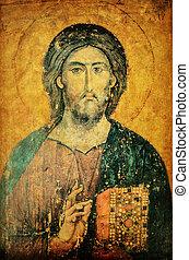 ícone, Jesus, christ, bíblia, mãos