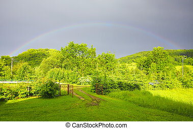 Green landscape with rainbow