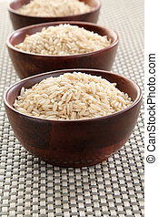 Basmati rice - Several bowls of healthy organic basmati...
