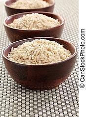 Basmati rice - Several bowls of healthy organic basmati...