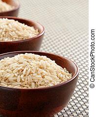 Basmati rice bowls - Several bowls of healthy organic...