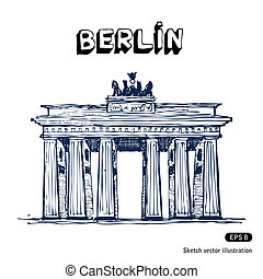 The Brandenburg gate in Berlin. Hand drawn vector isolated...