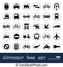 Transport, road signs and car icons - Transport, road signs...