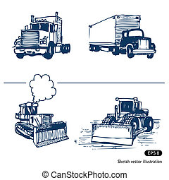 Trucks and bulldozers. Hand drawn vector isolated on white