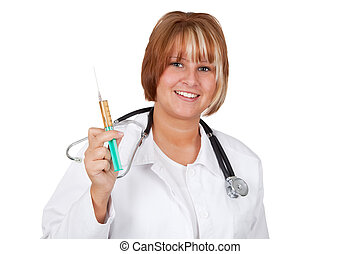 Inoculation - Young doctor with injection - studio isolated