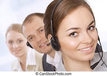 Successful female customer service - Can I help you Closeup...