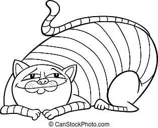 tabby fat cat cartoon for coloring
