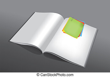 Post-it on book - Various and colored post-it joined in a...