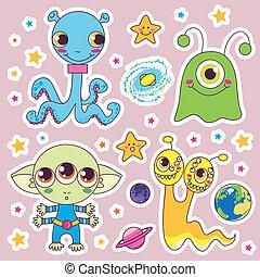 Cute Alien Monsters - Four sweet cute child alien monsters...