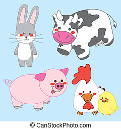 Happy Farm Animals - Collection of four cute happy farm...