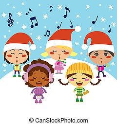 Christmas Carol Children - Group of five children singing...