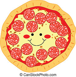 Pepperoni Pizza - Happy smiling pizza made of pepperoni and...