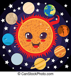 Happy Sun - Cute happy Sun with planet friends circling him
