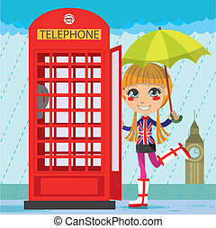 London Girl - Young girl opening a red telephone booth in...