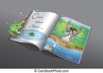 once upon a time - Fairytale book with little frog and fairy...