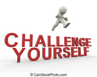 Challenge yourself - 3d render of man jumping over challenge...