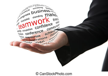 Concept of teamwork in business - Transparent ball with...