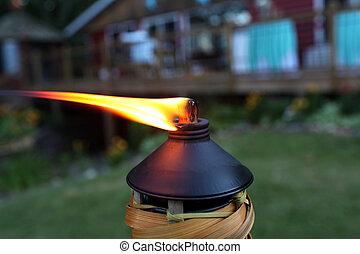 Tiki Torch - A tiki torch burning at an outdoor party