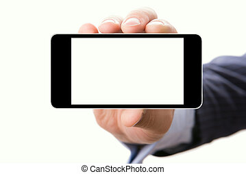 Hand holding smartphone with a blank screen - Blank touch...