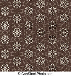 Elegant lace vector pattern, white on brown