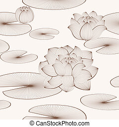 Lotus flower seamless pattern - Vector floral seamless...