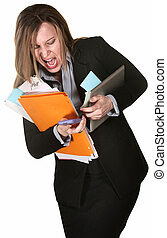 Woman Fumbling with Papers - Professional woman fumbling...