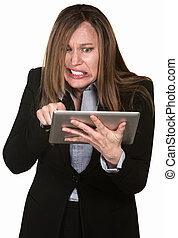 Anxious Woman with Tablet - Frustrated businesswoman with...