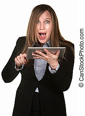 Excited Woman with Tablet - Excited woman holding tablet...