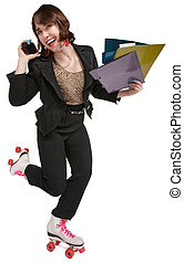 Roller Skating Office Worker - Young female worker on phone...