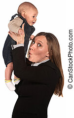 Working Mother with Smelly Baby - Happy businesswoman...