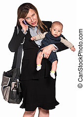 Busy Woman with Baby - Hispanic businesswoman with baby over...