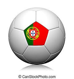 Portugal Flag Pattern 3d rendering of a soccer ball