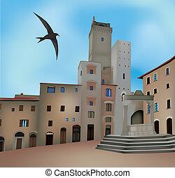 San Gimignano - View of San Gimignano, Siena, Italy