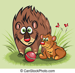 family of bears with a ball