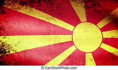 Macedonia Flag Waving, grunge look
