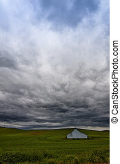 Storm clouds over the Palouse - Storm clouds over a white...
