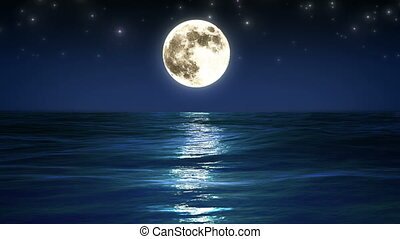 Sea and moon Night sky Looped - Sea and moon Night sky...