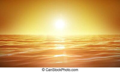 Sea and sun. Sunset. Looped. - Sea and sun. Sunset. Orange...