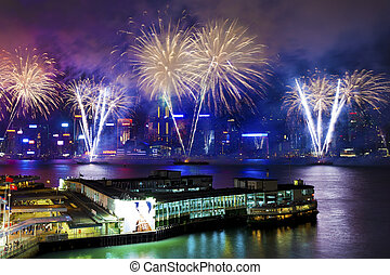 Hong Kong fireworks - HONG KONG - JUL 1, Fireworks Display...