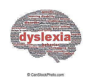 Dislexia, desorden, símbolo, aislado, blanco
