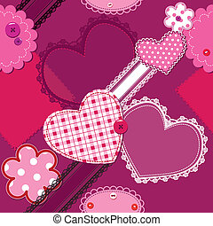 hearts and laces seamless pattern
