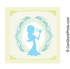 beautiful woman spraying perfume - silhouette poster