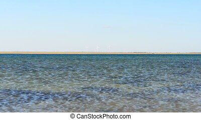 Wind turbines ashore sea