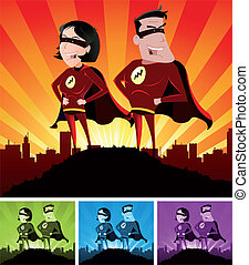 Super Heroes Male And Female - Illustration of a cartoon...