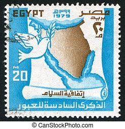 map of Sinai peninsula - EGYPT - CIRCA 1979: stamp printed...